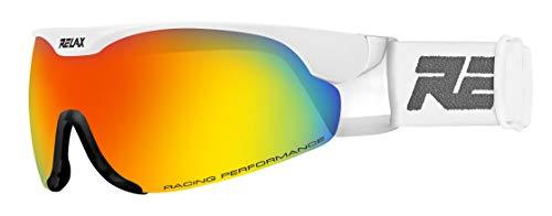 Relax Skibrille CROSS | Langlaufbrille | Biathlonbrille | Skatingbrille für Damen und Herren (weiß glänzend)