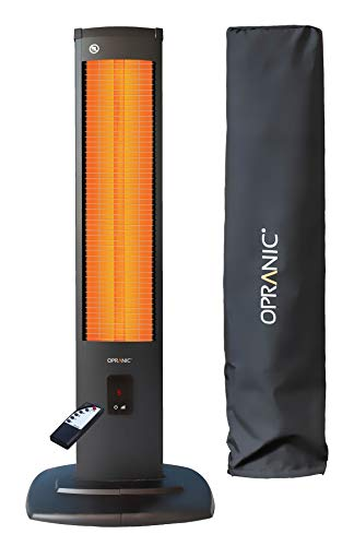 OPRANIC 2KW Electric Patio Heater with Cover | 2000 Watts & IP34 | Infrared Heater, Indoor Electric Heaters, Outdoor Heater, Tower Heater, Free Standing Patio Heaters, Garden Heaters Outdoors | THOR
