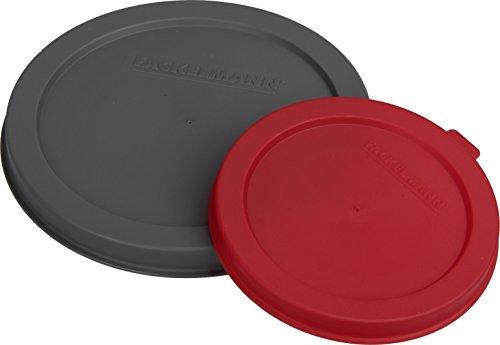 Fackelmann Dosendeckel CAT&DOG, Plastikdeckel für Konserven, Verschluss für Futterdosen (Farbe: Rot, Grau), Menge: 2 Stück