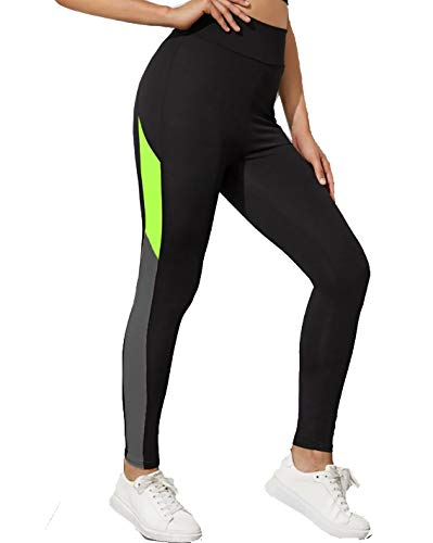 Neu Look Gym wear Leggings Ankle Length Workout Pants with Phone Pockets | Stretchable Tights | Mid Waist Sports Fitness Yoga Track Pants for Girls & Women (Black Neon Green, Size - M)