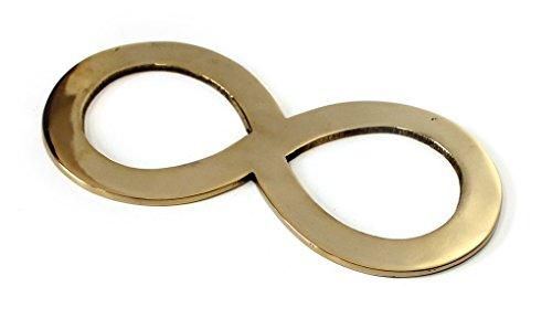 TEMPELWELT Messingsymbol Liegende Acht Lemniskate 15,5 cm, Messing Gold poliert, Symbol der Unendlichkeit und Rhythmus, Wandsymbol