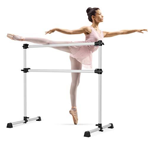 DREAMADE Sbarra Danza Classica Portatile in Ferro Sbarra da Balletto per Casa o Studio (Argenteo)
