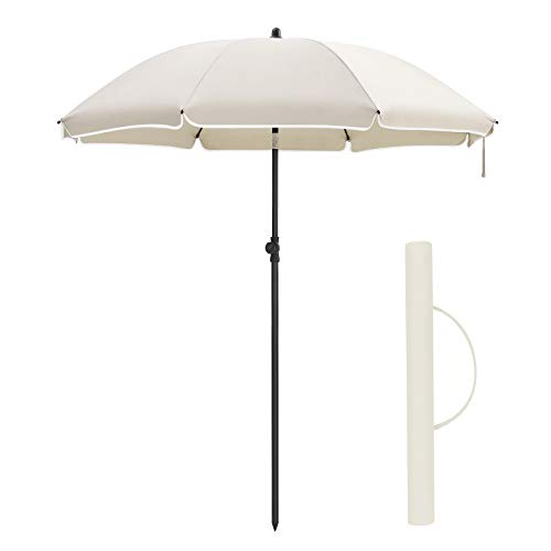 SONGMICS Sonnenschirm, Ø 160 cm, Marktschirm, UV Schutz UPF 50+, Sonnenschutz, achteckiger Gartenschirm aus Polyester, Schirmrippen aus Glasfaser, mit Tragetasche, Beige GPU60WTV1