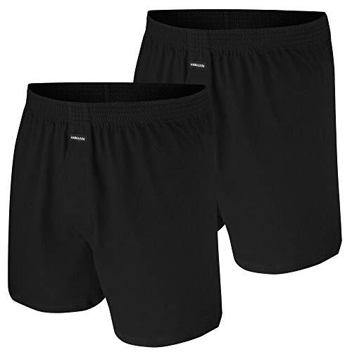 Ammann 2er Pack Boxer Shorts mit Eingriff Boxershorts Pants schwarz (7 / XL, schwarz)