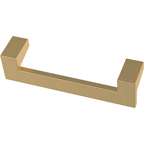 Franklin Brass P40836K-117-C Mirrored Kitchen or Furniture Cabinet Hardware Drawer Handle Pull, 3-3/4-Inch (96mm), Brushed Brass, 10-Pack