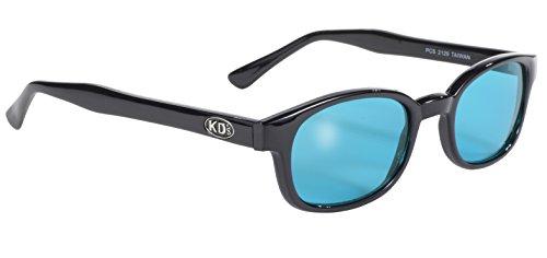 pacific coast original kd's biker sunglasses (black frame/turquoise lens)