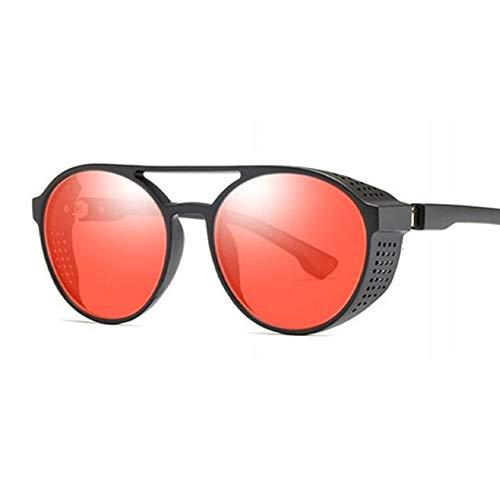 ZYJ Gafas de Sol Redondas Steampunk Redondas Gafas de protección Lateral para Mujer Gafas de Sol con Montura de Metal Gafas de Sol góticas Gafas de Sol Gafas de Sol para Mujer,Red