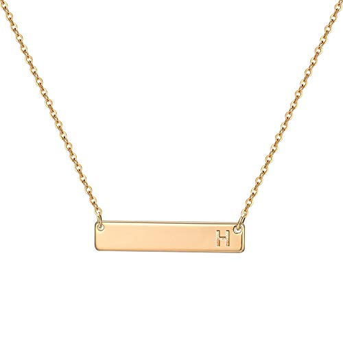 M MOOHAM Bar Initial Necklace, 14K Gold Plated Engraved Monogram Letter H Bar Initial Necklace, Single Horizontal Bar Pendant Necklace for Women Teen Girls