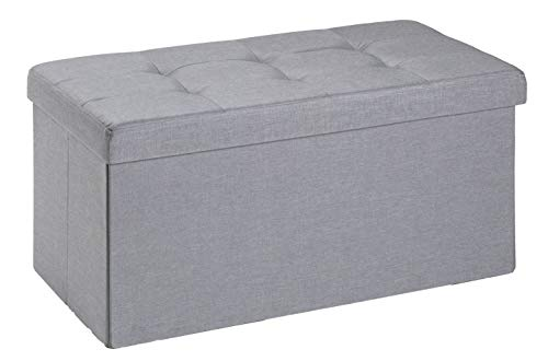 D&D Quality Puff Almacenaje Plegable, Asiento Acolchado, 76 x 38 x 38 cm - Carga Máxima de 300 kg (Gris Claro)