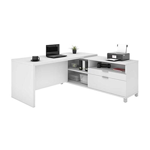 Bestar, Universel Collection, Modern Executive Office L-Shaped Desk with Storage Space