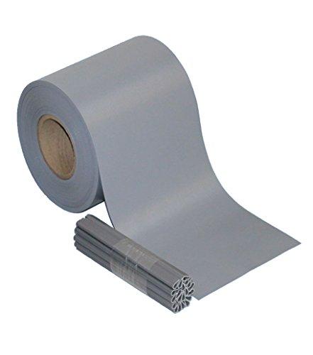 Sichtschutz PVC Zaunfolie Windschutz für Doppelstabmatten Zaun (Grau, 35 m)