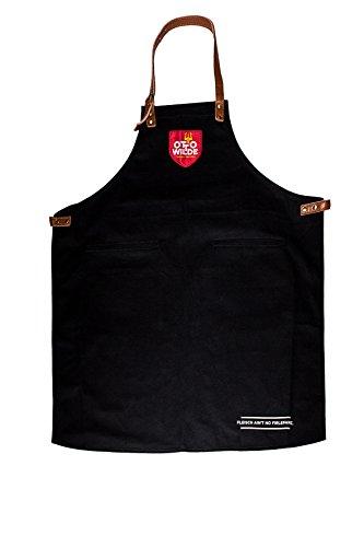 Otto Wilde grillers d'Otton Tablier, tablier de barbecue de qualité en coton épais et cuir véritable, barbecue pour les hommes