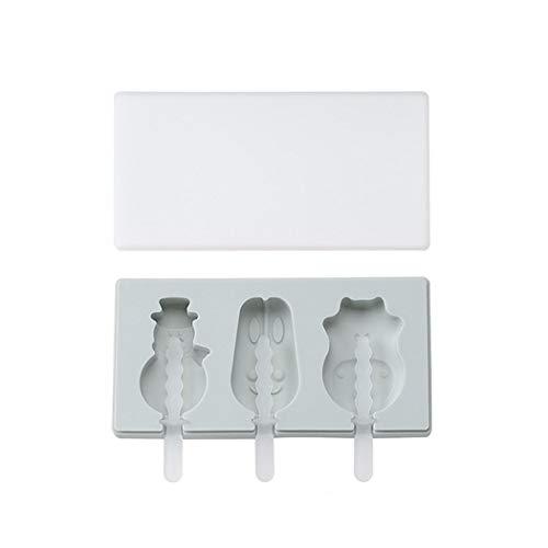 EIS am Stiel Eisformen mit Deckel, DIY Eisform Silikon Kreative Home Küche Schneemann Nilpferd Kaninchen 3 Kunststoffstangen Blau