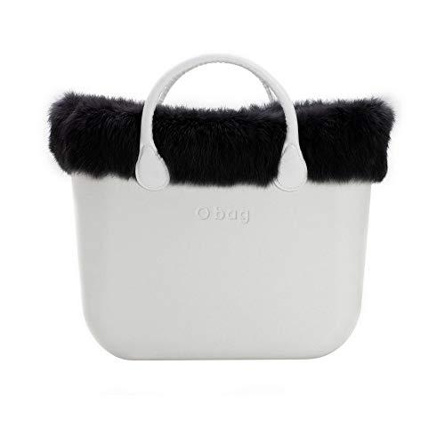 O bag mini borde de piel sintética lapin Negro talla unica