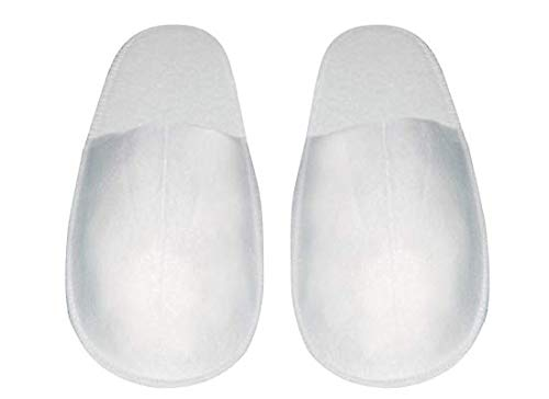 Kickkick® Lot de 10 paires de chaussons antidérapants jetables en éponge, taille unique, emballés par paire, pour invités, hôtels et spa, couleur blanche, doux avec fond surélevé imperméable