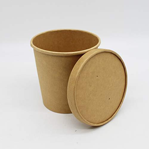BAMI EINWEGARTIKEL Suppenschale | Suppenbecher | Suppenterrine | Soup to Go | Thermobecher | Einwegbecher aus Pappe, 26oz / 765ml, Braun | 100 Becher + 100 Deckel