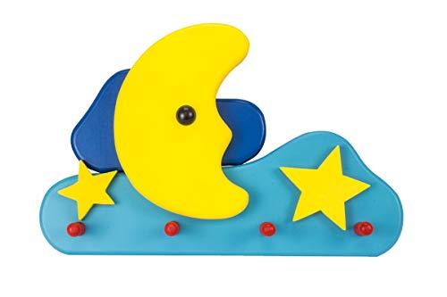 Preisvergleich Produktbild Holzwurm Kindergarderobe Issum,  Mond & Sterne,  Holz