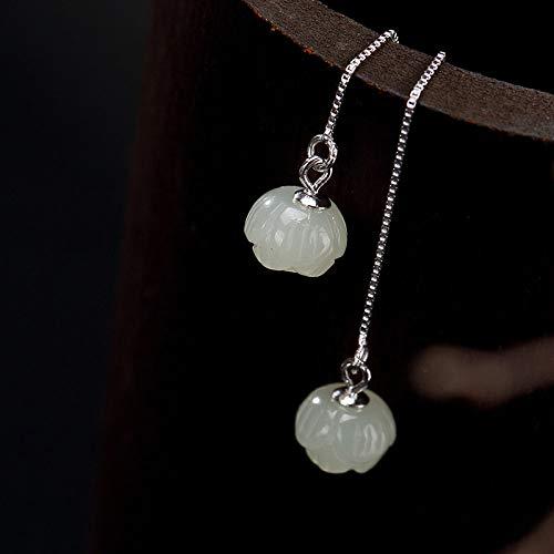 Pendientes De Gota Para Mujer,Simplicity Fashion S925 Silver Natural Lotus Hetian Jade Dangle Ear Line Pendientes Para Mujeres Y Niñas Hecho A Mano Único Regalo De Joyería De Lujo Creativo Para M