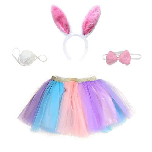 cdhgsh - Conjunto de Disfraz de Conejo para niñas y niños, Falda de tutú de arcoíris con Diadema de Orejas de Conejo, Falda de tutú
