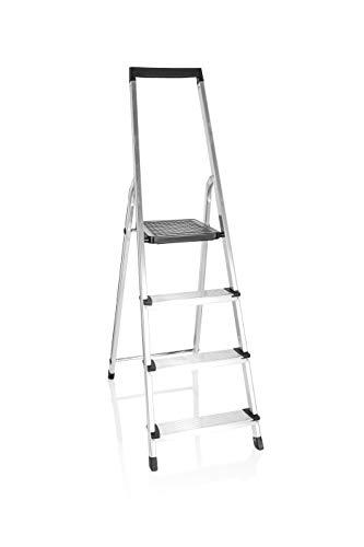 hjh OFFICE 801203 Klappleiter 4 Stufen SOLID W4 Aluminium Trittleiter mit Werkzeugablage, bis 150kg belastbar, Silber/Schwarz