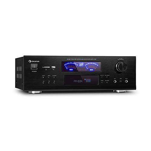 auna AMP 5100 BT 5.1 - Amplifier Verstärker, 2 x 120 Watt + 3 x 50 Watt RMS, Bluetooth-Funktion, USB-Port, SD-Slot, 2 Mikrofon-Anschlüsse, UKW-Radiotuner, AUX-Eingang, 2 VU-Meter, schwarz