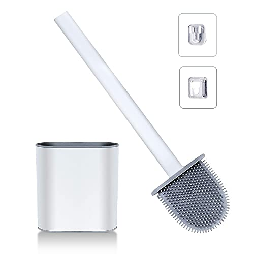 BLOOMERRY Silicone Toilet Brush Bathroom Deep Cleaner Bowl Buddy Toilet Brush with No-Slip Long Handle and Flexible Bristles Wall Mounted Anti-Drip Quick Drying Holder Set for Bathroom Toilet