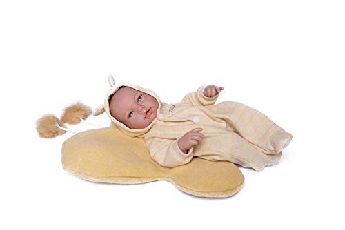 Puppen Guca - poppenpop pasgeborenen Dario pyjama geel met kussen vlinder om te spelen. 36 cm, meerkleurig (921)