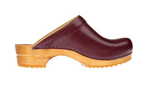 Sanita Lotte | Zuecos Abiertos | Producto Artesanal Original para Mujer | Zuecos de Piel con Suela de Madera | Burdeos Rojo | 41 EU