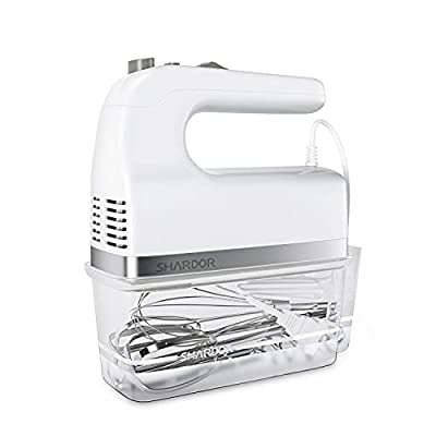 SHARDOR Hand Mixer 350W Power Advantage Electric Handhold Mixers with 5 Stainless Steel Attachments(2 Beaters, 2 Dough Hooks and 1 Whisk), Storage Case, White from SHARDOR