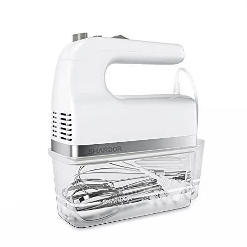 SHARDOR Hand Mixer, 350W Handheld Mixer with Storage Case 5-Speed Plus Turbo Hand Mixer Electric With 5 Stainless Steel Attachments(2 Beaters, 2 Dough Hooks and 1 Whisk), White