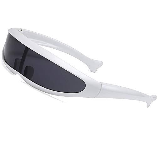 SHEEN KELLY Futurista Cíclope gafas de sol Para cosplay Estrechar cíclope Adulto Gafas de partido Wrap espejo