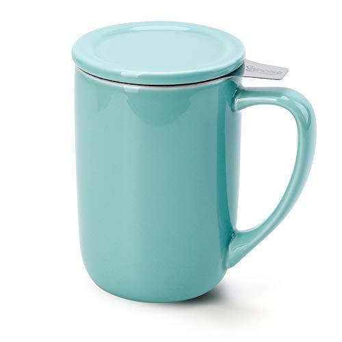 Sweese 203.102 Teetasse mit Deckel und Sieb, Tee tassen Porzellan für Losen Tee Oder Beutel, Helltükis, 500 ml