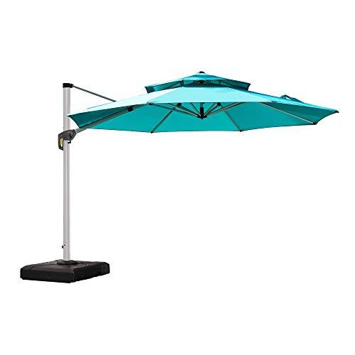 PURPLE LEAF 12 Feet Double Top Round Deluxe Patio Umbrella Offset Hanging Umbrella Outdoor Market Umbrella Garden Umbrella, Turquoise Blue