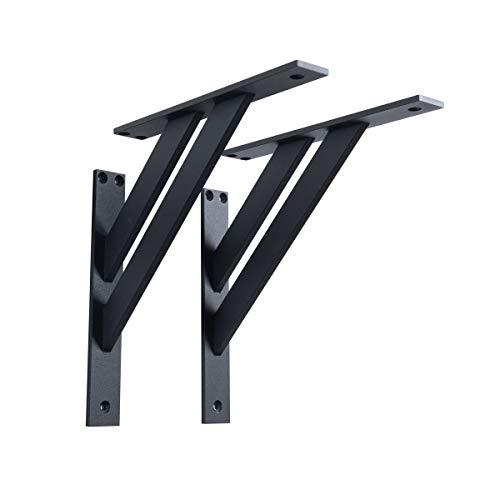 2 x Sossai® Design Regalträger | Winkel Auflage | Wandhalterung für Regalbrett 240x240mm (FSHR)| Farbe: schwarz matt | Material: Aluminium