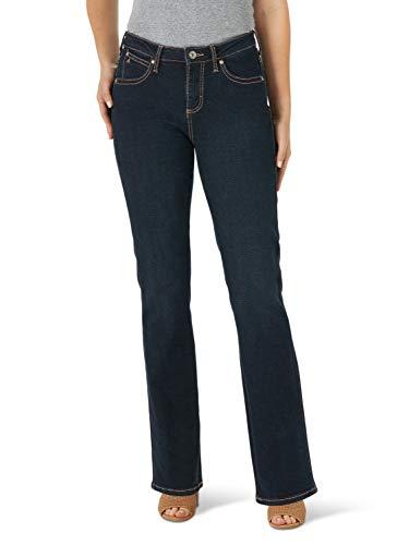 Wrangler Women's Aura Instantly Slimming Mid Rise Boot Cut Jean, Blue/Black Indigo, 16