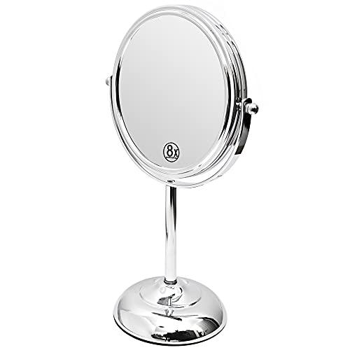 Amtido Miroir de maquillage grossissant 15,2 cm – Miroir de courtoisie grossissant 1x et 8x – Pivotant à 360° – Finition chromée