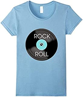 Womens 1950s Rock and Roll Record T-Shirt XL Baby Blue [並行輸入品]