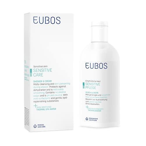 Eubos Sensitive Dusch & Creme Waschlotion zum Waschen und Duschen für für empfindliche und trockene Haut Hautverträglichkeit dermatologisch bestätigt, 200 ml