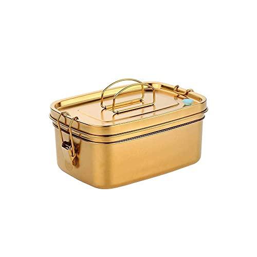 (dorado) Caja Bento De Acero Inoxidable De 50 Oz Contenedores Para Lonchera Caja Bento De Metal A Prueba De Fugas De 2 Capas Para Niños O Adultos Recipiente Para Almuerzo Con Cerraduras Seguras Y Asa,