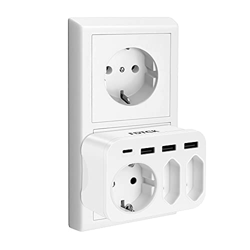 FDTEK Multipresa USB,Presa Multipla con 3 Prese CA,3 Porte USB-A e 1 USB-C,Multipresa da Muro Compatibile con Cellulari e Tablet, Adatto per Famiglia e Viaggi,Bianco,4000W/16A