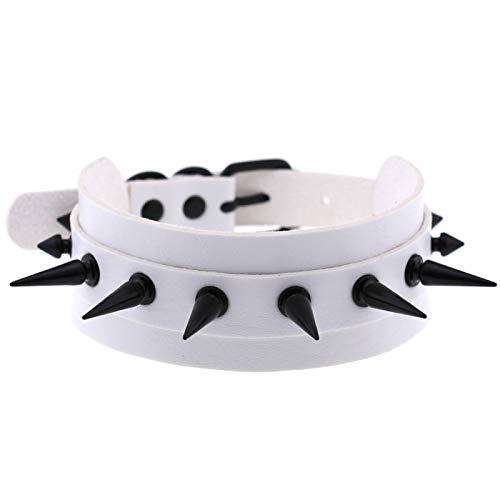 Ruby569y Collar unisex con remache de anillo unisex, de piel sintética, ideal para fiestas, clubes, color blanco