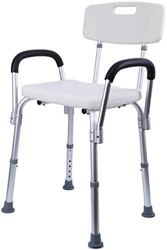 Iglobalbuy Taburetes y Asientos de Ducha y Baño Antideslizante Taburete de Ducha con Respaldo y Brazo para Ancianos Discapacitados Minusválidos