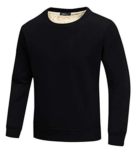 Gihuo Men's Warm Crewneck Sherpa Lined Fleece Sweatshirt Pullover Tops (Black, M)