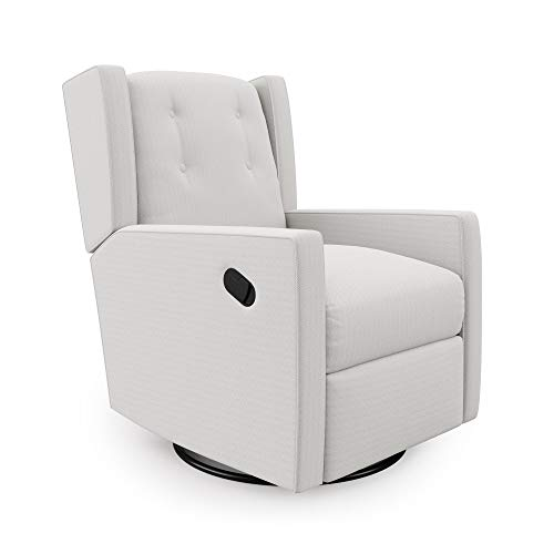 Baby Relax Mikayla Swivel Glider Chair, White, Water Stain Resistant Recliner