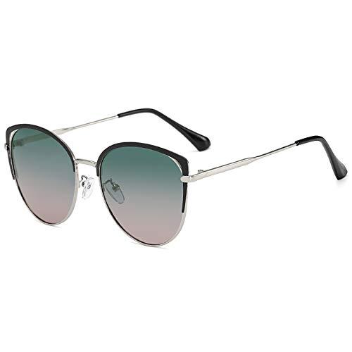 QFSLR Moda Ojo De Gato Gafas De Sol Polarizadas con Montura Metálica para Mujer Gafas De Sol 100% Protección UV,F