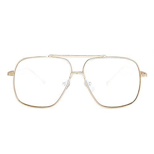 JIM HALO Gafas de sol de gran tamaño hombres, mujeres, montura de metal con lente cuadrada clásica (dorado/transparente)