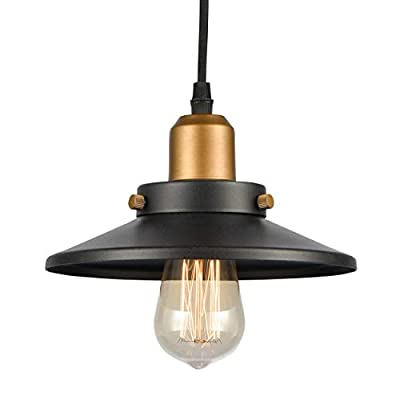 WILDSOUL Lighting 20021SN Industrial Farmhouse Caged Pendant, LED Compatible Vintage Bar Counter Kitchen Indoor Lighting Fixture with Bulb, Dimmable Adjustable Cord, Silver, Brushed NickelFinish