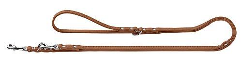 HUNTER Elk Petit Verstellbare Führleine für kleine Hunde, Leder, weich, 0,8/200 cm, cognac