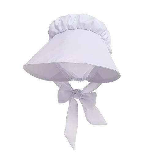 GRACEART Bäuerin Magd Hut Kopfbedeckung Hut Kolonialfrau Haube Mittelalter Kopfbedeckung Damen (Weiß)