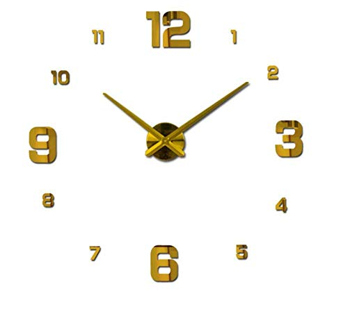 LHQ-HQ Pegatina de pared grande decorativo reloj de pared material acrílico circular DIY reloj de una sola cara diseño moderno sala de estar reloj de cuarzo (dorado) despertador para el hogar